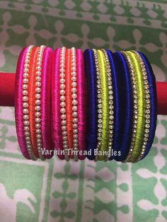 Silk Thread Bangles Design, Silk Thread Necklace, Silk Bangles, Beaded Necklace Patterns, Bridal Bangles, Thread Jewellery, Paper Jewelry, Jewelry Patterns, Earrings Handmade