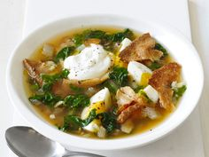 Swiss Chard Soup : This warm, comforting soup is quick to make and full of good-for-you ingredients. Wilt Swiss chard in a spicy caraway and cumin-scented broth, then finish with protein-packed eggs, Greek yogurt and crisp pita chips.