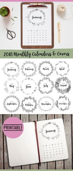 Bullet Journal Cover Pages Printable - these wreath cover pages and accompanying minimalist 2018 monthly calendars are available for instant download so you can print them out immediately. Use them to start every month in a beautiful way and you'll see that planning your days will become so pleasant and effective! #ad #bujo #bujojunkies #etsy #printable #bulletjournaljunkies #bujolove #bulletjournal #bujoinspire