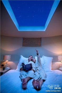 Skylight above bed! especially neat for star gazing thunderstorms… Comes with remote controlled black out blinds… Skylight above bed! especially neat for star gazing thunderstorms… Comes with remote controlled black… Dream Bedroom, Home Bedroom, Master Bedroom, Bedrooms, Night Bedroom, Bedroom Simple, Bedroom Rustic, Bedroom Furniture, Modern Furniture