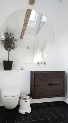 Round bathroom mirror for small bathroom Diy Bathroom, Laundry In Bathroom, Bathroom Renos, White Bathroom, Bathroom Interior, Round Bathroom Mirror, Bathroom Ideas, Frameless Mirror, Mirror Vanity