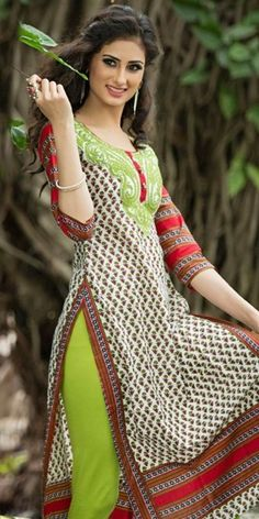 Marvelous Off-White And Red Cotton Printed Kurti.