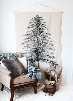 A whimsical take on a traditional Christmas tree, which creates warmth and texture to a wall or small space.