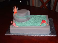 Pool Party Cake This was my son's b-day party at a local water slide park. Pool Birthday Cakes, Pool Party Cakes, Pool Cake, Pool Party Kids, Park Birthday, 13th Birthday, Birthday Ideas, Birthday Parties, Waterslide Cake