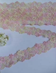 embroidered lace by the yard   ... Light Pink Ivory Embroidered Flowers Lace Trims 2 Yard T402   eBay