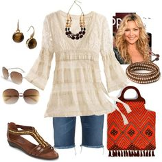 Love Boho clothes, especially this top! Different sandals.