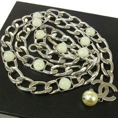 Chanel Vintage CC Logos Chain Belt Silver