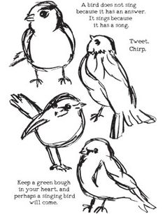 Ranger Ink - Dina Wakley Media - Unmounted Rubber Stamps - Scribbly Birds