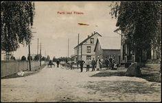 Hedmark fylke Åsnes kommune i Solør, Flisa  (FLISEN) Fint gatemotiv med et par hester og folk  Utg D. N. K. F. A. A/S tidlig 1900-tall