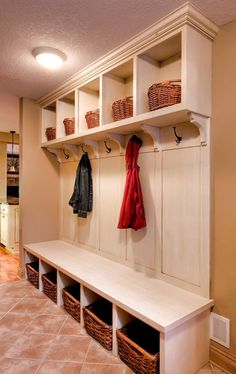 When we were looking at floorplans, the areas I looked first for were: an entryway where the kitchen couldn't be seen, a mudroom, and a lar. Mudroom Laundry Room, Laundry Room Organization, Organization Ideas, Mud Room Lockers, Mudroom Cubbies, Built In Lockers, Laundry Baskets, Storage Ideas, Mudrooms With Laundry