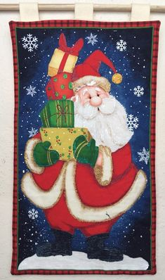 Resultado de imagen para cuadros en falso patchwork navideños Christmas Clipart, Christmas Art, Christmas Cookies, How To Draw Santa, Chicken Painting, Christmas Quilt Patterns, Country Paintings, Panel Quilts, Christmas Paintings