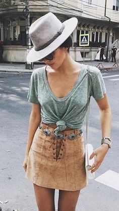 Grey Hat & Green Top & Camel Laced Up Skirt
