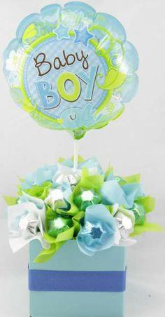Baby Boy Chocolate Bouquet Liquor Bouquet, Candy Bouquet, Chocolate Bouquet, Boyish, Delicious Chocolate, Centerpieces, Baby Boy, Birthday Parties, Baby Shower