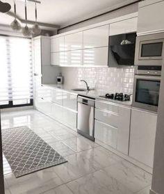 The Best 26 All White Kitchen Design Ideas modern all white kitchen with metro tiles Kitchen Pantry Design, Modern Kitchen Cabinets, Modern Kitchen Design, Home Decor Kitchen, Interior Design Kitchen, Kitchen Ideas, Metro Tiles Kitchen, Kitchen Layout Plans, Buy Kitchen