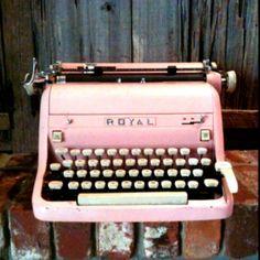 Pink vintage type writer