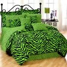 Lime Zebra Print Twin XL Dorm Room Bedding Set