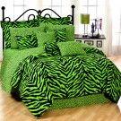 Dorm bedding Lime Zebra Print Twin XL Dorm Room Bedding Set