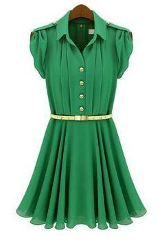 Green pleated dress.