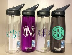 monogrammed camelbaks - I'll take the pretty purple one!