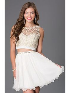 A-Line/Princess Sheer Neck Sleeveless Lace Short/Mini Chiffon Dresses - Jolly Belle