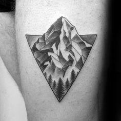 Guys Tattoos With Geometric Mountain Design