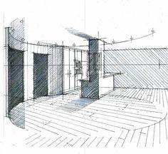 Croquis d'un hall salon cuisine Philippe Ponceblanc architecte d'intérieur http://www.architecte-interieur.com