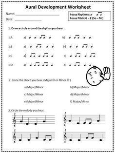 This is one page of Aural Develop Activities covering: 1. Rhythm: quarter and eighth notes 2. Major and Minor chords 3. Melody: so and mi This sheet can be used over and over again. Wonderfully useful! If you found these activities useful, you can find more at: Aural Development Activities CLICK