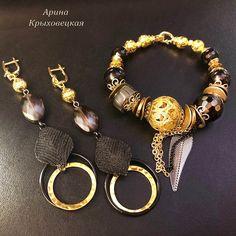 #ручнаяработа #хэндмейд #дизайнерскоеукрашение #черныйагат #чернаясмола #лава #текстиль #фурнитурапозолота #фурнитурачернение #полосатыйагат #эксклюзив #качество Beading, Dangles, Photo And Video, Purple, Bracelets, Green, Earrings, Crafts, Jewelry