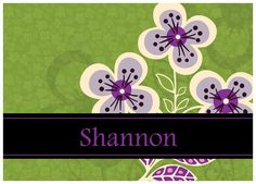 Vera-inspired note cards ... personalized, in Plum Petals.  Would make a great bridesmaids gift!