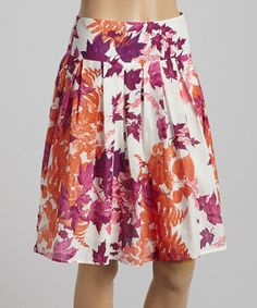 Loving this Off-White & Purple Leaf A-Line Skirt on #zulily! #zulilyfinds- would need to add some length but I absolutely love the pattern and colors!