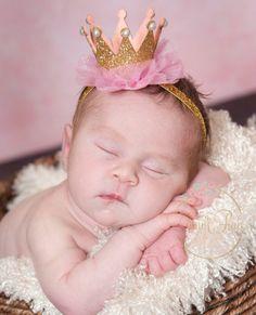 Newborn Crown,1st Birthday Crown, Baby headbands,  Newborn Baby Crown, Baby crown headband,Princess Crown Headbnad, Glitter Crown Headband. by ThinkPinkBows on Etsy