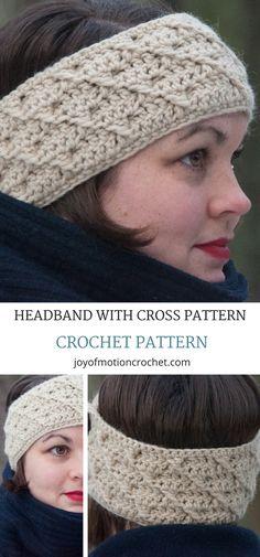 Headband with cross pattern crochet pattern. Ear warmer crochet headband. Crochet headband patter. Crochet headband with buttons. Crochet ear warmer. #crochetearwarmer #crochetheadband #crochet #crochetpattern #crochetpatterns