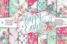 Watercolor Happy Easter digital paper pack by designloverstudio