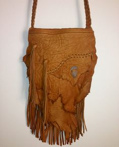 vintage deer skin leather hippie fringe purse with indian arrowhead