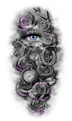 Love the concept, incorporate pocket watch, rose and birds.