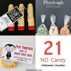 Need some great non candy ideas for Halloween? I've heard lately that a lot of schools are going towards no candy these days, plus I know of quite a few kids who have allergies to sugars and dyes, among other things.  So with that, I've compiled some great alternatives to all that sugary stuff! 1. This one includes …