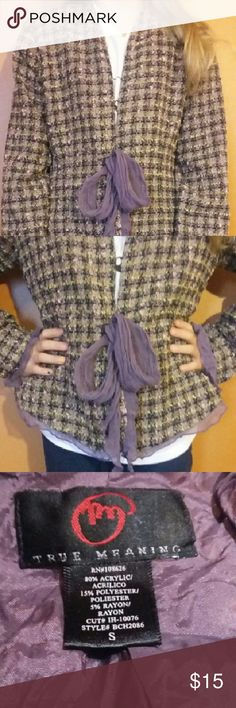 """True meaning jacket small True meaning size small jacket. Acrylic, polyester, rayon. Adorable eggplant lining and ribbon detail and tie. Measurements: shoulder 2 shoulder 14"""",  shoulder to sleeve 23"""",  shoulder to hem 29"""" True meaning  Jackets & Coats Blazers"""