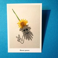 Flower Power 🌼 a postcard from my Nature set, for sale in my Etsy webshop 📮#illustration #shadowology #art #postcard #gift #beard #yellow #mellow #shadowart #photography #peace #pisbloem