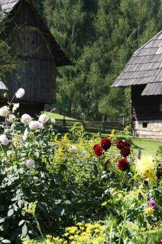 historic alpine village, farmhouse garden, Austria