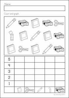 Kindergarten Back to School Math & Literacy Worksheets and Activities. 135 pages… Kindergarten Back to School Math & Literacy Worksheets and Activities. A page from the unit: count and graph Go Math Kindergarten, Math Literacy, Preschool Math, Teaching Math, Math Activities, Numeracy, Graphing Worksheets, Kindergarten Worksheets, Back To School Worksheets