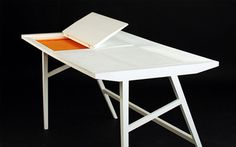 Space saving furniture for modern  Working Desk With Hidden Laptop Storage by Rebwar Faillehomes!