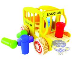 Bondinho Escolar, Bondinho escolar newart, carrinho de encaixe, carrinho de madeira, brinquedos educativos, bondinho escolar