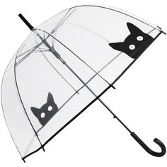 Peek-a-Boo Clear Dome Umbrella - Black Cat - BrolliesgaloreLightweight & dainty, clear see through dome umbrella with a black cat face with white almond eyes peeking over the black ribbon edge of this umbrella on two opposite panels. Perfect for those wet days, it has a domed canopy to cover head and shoulders but with a smaller frame and shaft length, so is not too heavy to carry around. Clear see through POE panels, automatic opening frame with a black plastic handle.