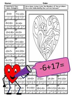 Valentine Math-Color By Number: Add and Subtract Integers