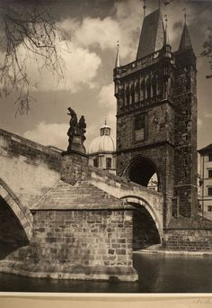Bridge Tower in Prague by Karel Plicka Prague Czech Republic, Heart Of Europe, Old Photography, World Images, World Cities, Medieval Town, Ancient Ruins, Most Beautiful Cities, Wonders Of The World