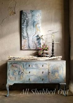 Miss Fletcher of London Buffet Hand Painted by Quitta Allen #ad #paintedfurniture