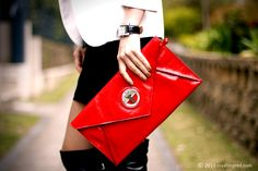 Red envelop clutch by Mimco #bags