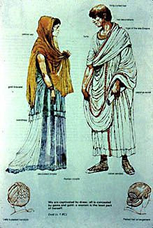 The outfit was completed by a flaming orange veil (flammenum) that covered her head and the upper part of her face.