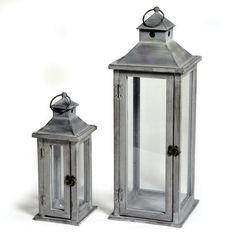 Latarenka drewniana Basic Lantern Grey 26391-2