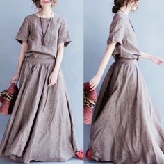Linen long dress women's clothes